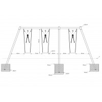 Triple swing Metal, Height: 2,20m